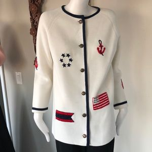 Sweaters - Vintage nautical knit sweater cardigan